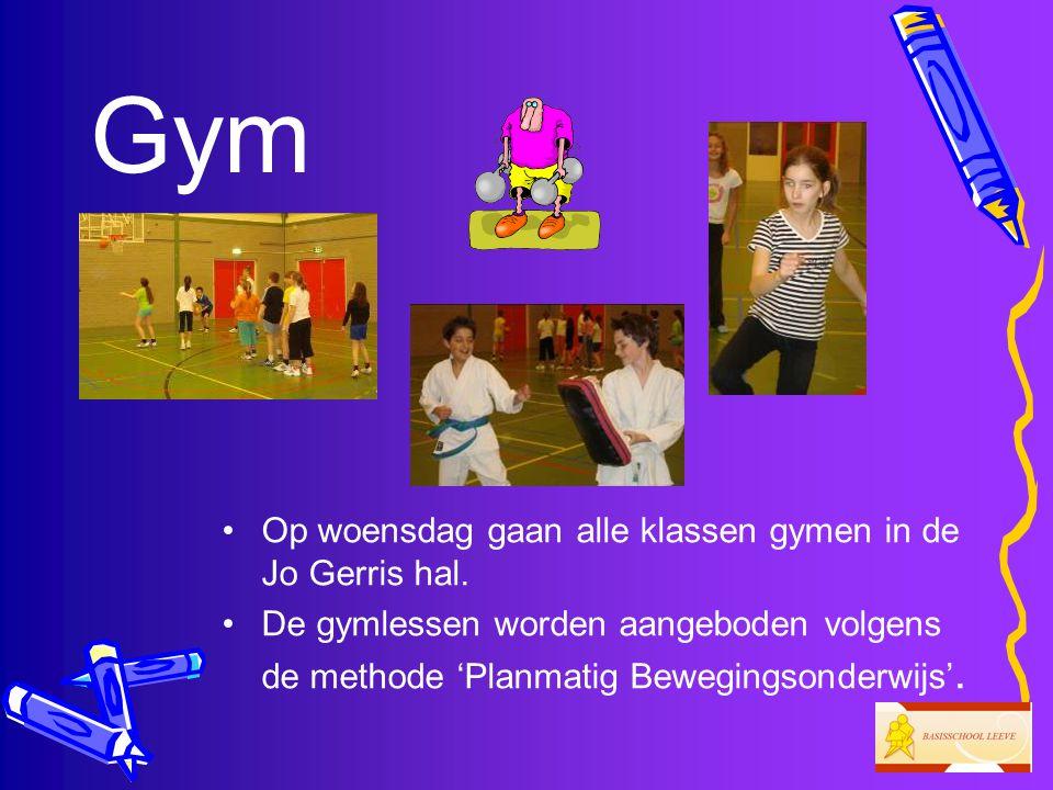 Gym Op woensdag gaan alle klassen gymen in de Jo Gerris hal.