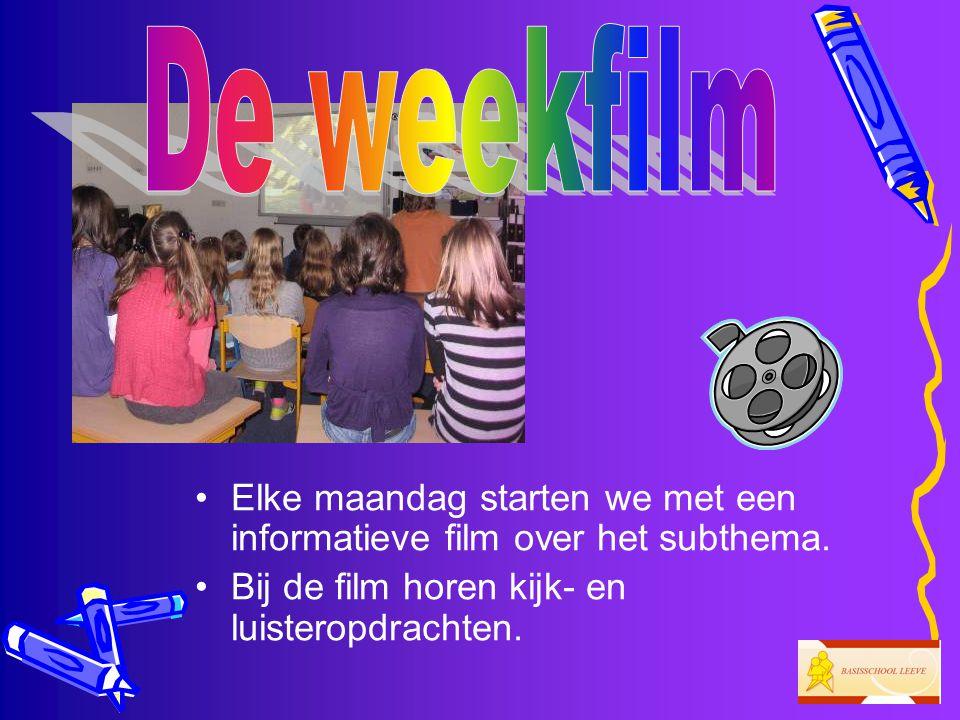 De weekfilm Elke maandag starten we met een informatieve film over het subthema.