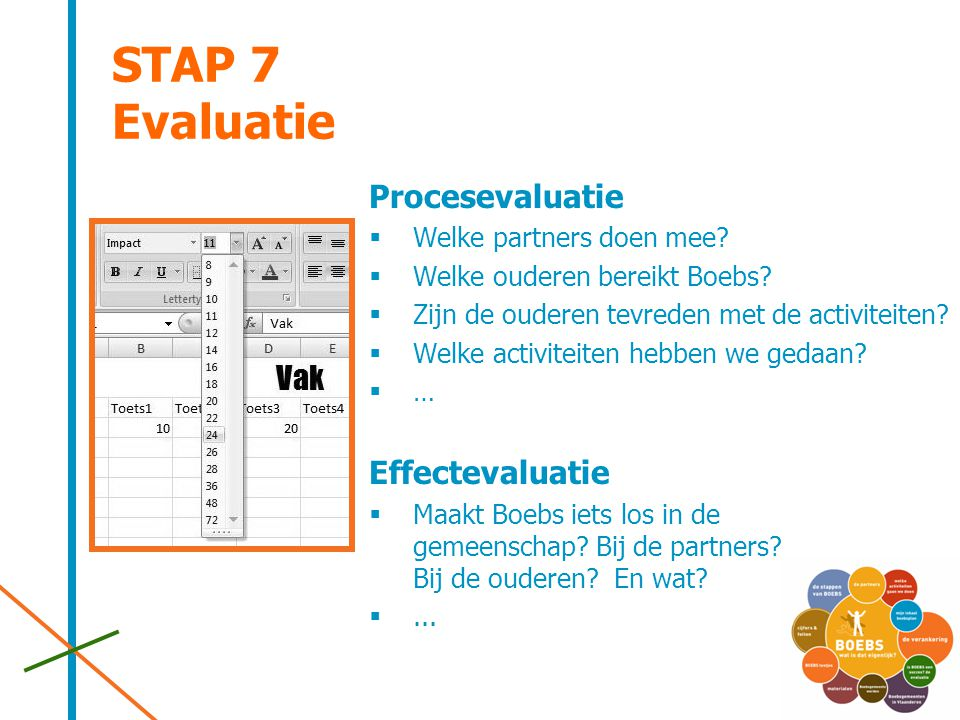 STAP 7 Evaluatie Procesevaluatie Effectevaluatie