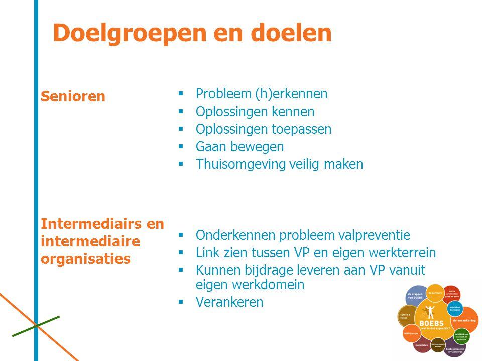 Doelgroepen en doelen Senioren Intermediairs en intermediaire organisaties Probleem (h)erkennen. Oplossingen kennen.