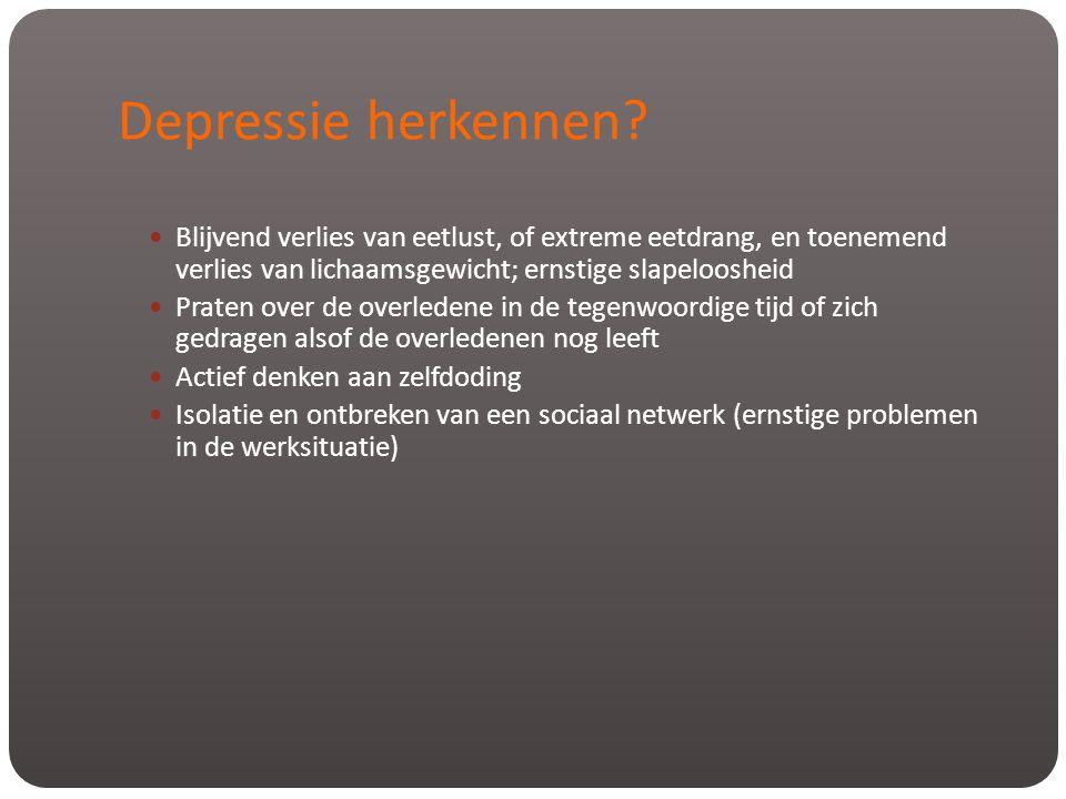 Depressie herkennen Blijvend verlies van eetlust, of extreme eetdrang, en toenemend verlies van lichaamsgewicht; ernstige slapeloosheid.