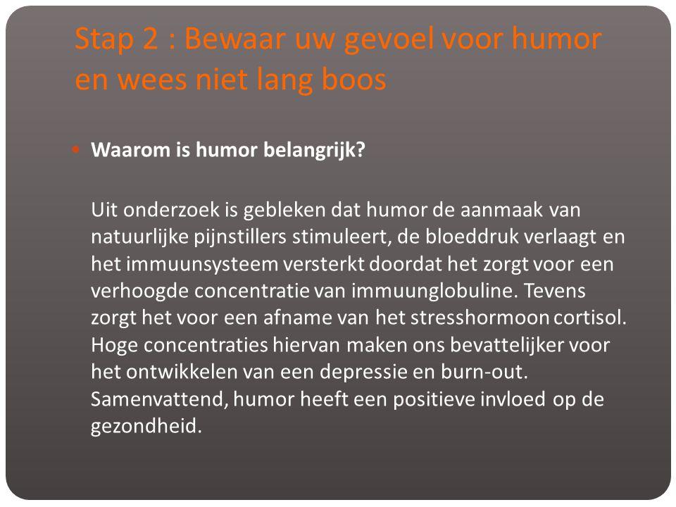 Stap 2 : Bewaar uw gevoel voor humor en wees niet lang boos