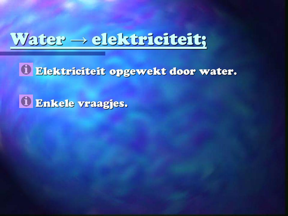 Water → elektriciteit;
