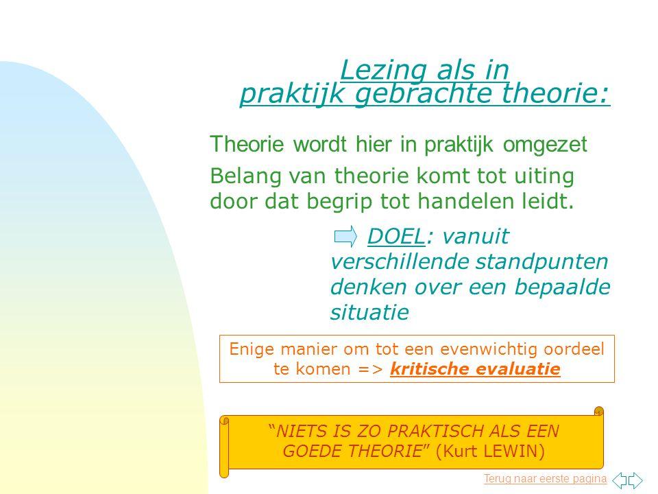 Lezing als in praktijk gebrachte theorie: