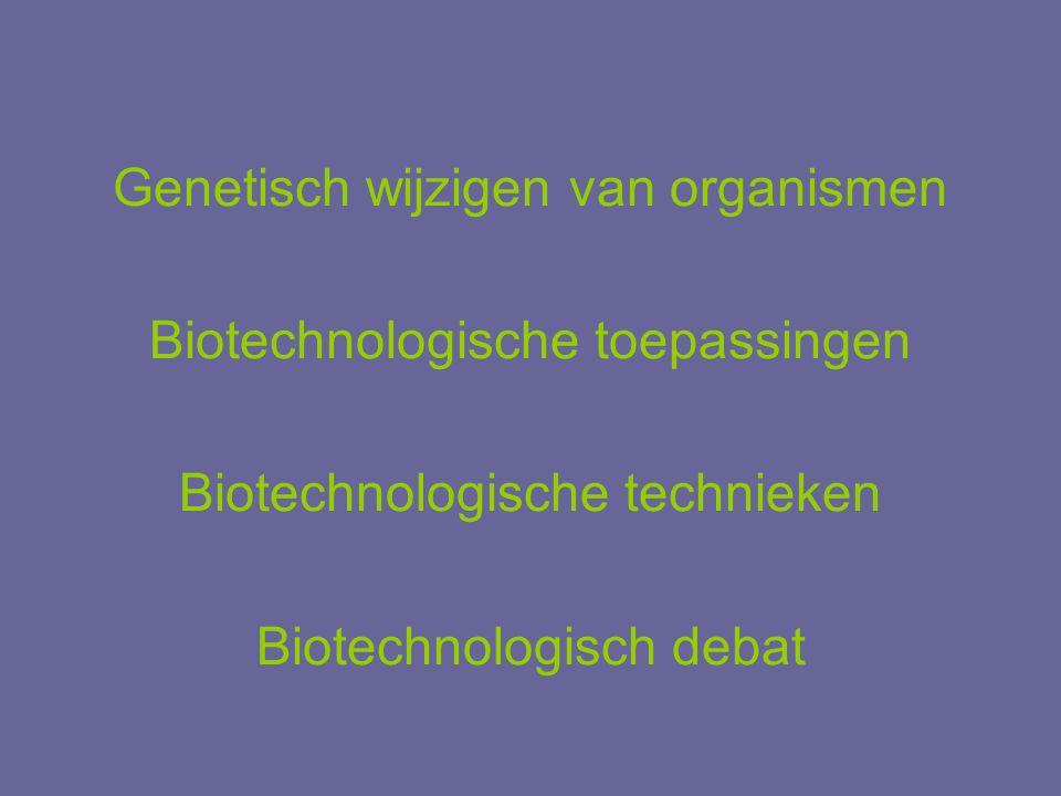 Genetisch wijzigen van organismen Biotechnologische toepassingen