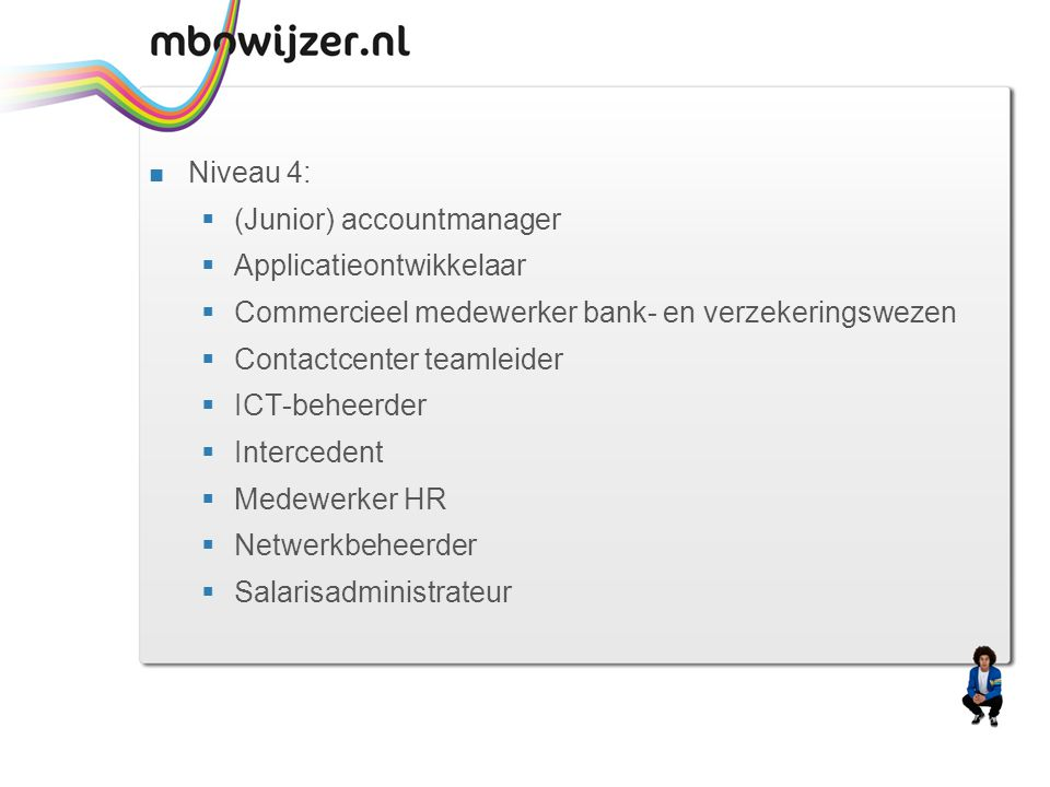 Niveau 4: (Junior) accountmanager. Applicatieontwikkelaar. Commercieel medewerker bank- en verzekeringswezen.