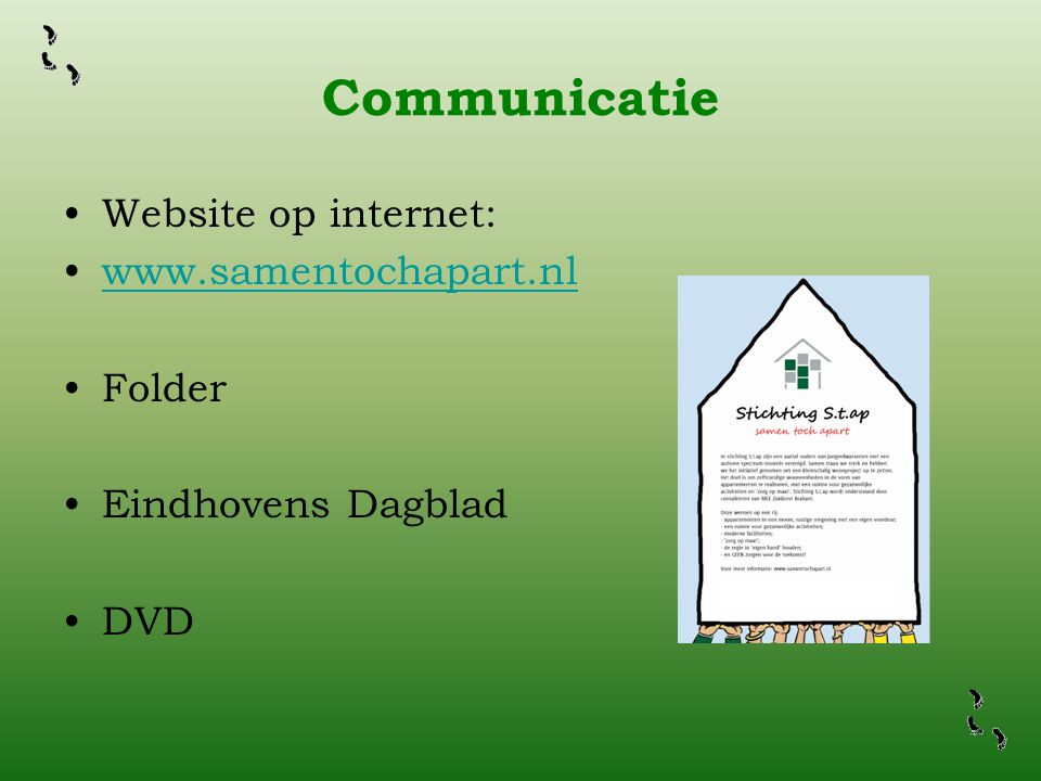Communicatie Website op internet: www.samentochapart.nl Folder