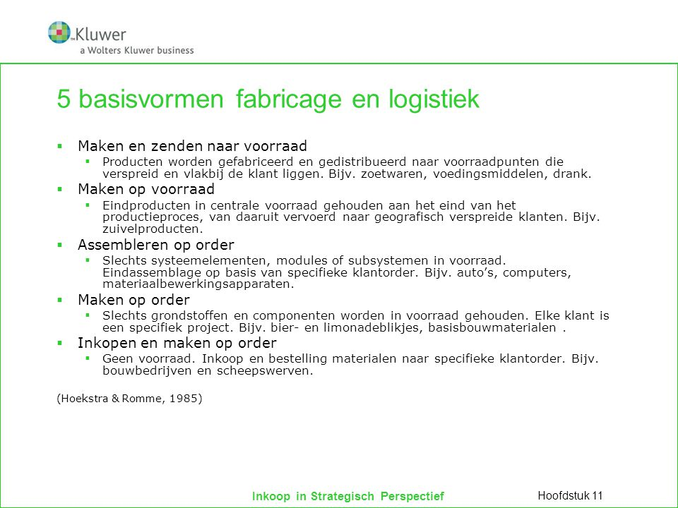 5 basisvormen fabricage en logistiek