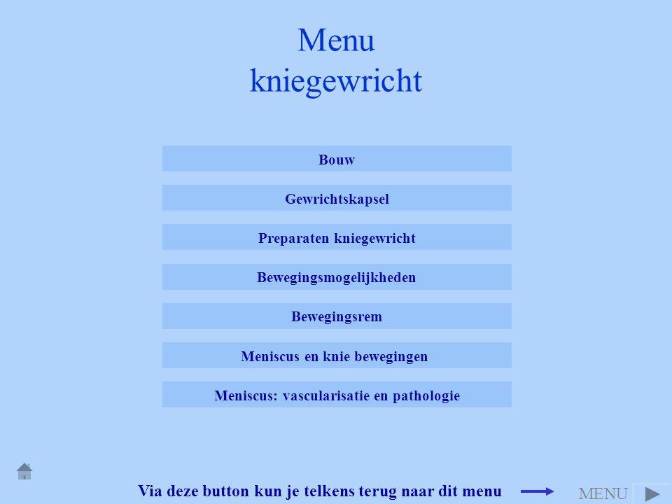 Menu kniegewricht Via deze button kun je telkens terug naar dit menu