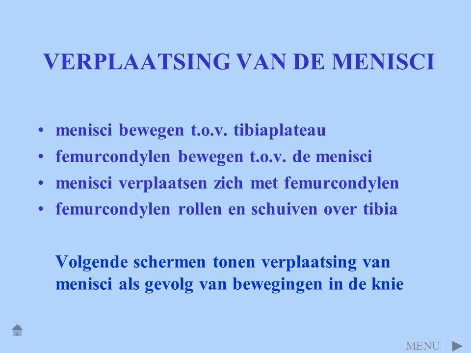 VERPLAATSING VAN DE MENISCI