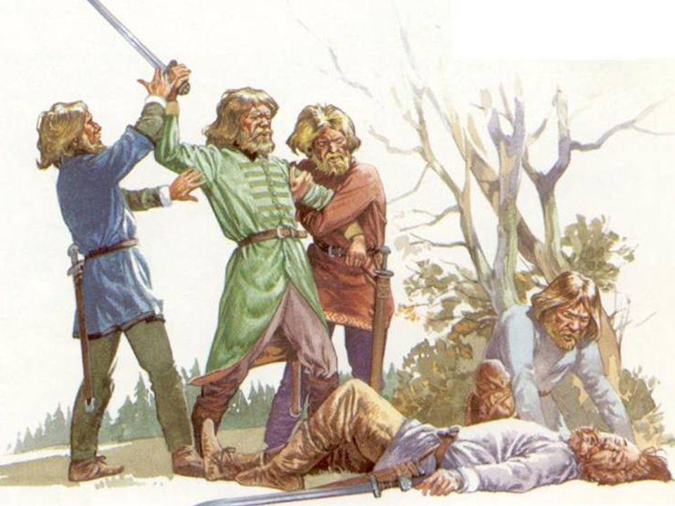 Een zwaargewonde man wordt verzorgd door zijn vriend, terwijl twee anderen zijn belager vast- houden.