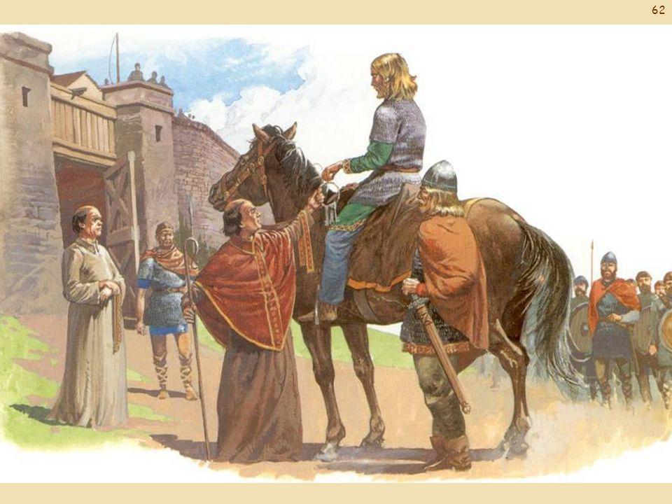 Een Vikinghoofdman krijgt de sleutels van een Franse stad