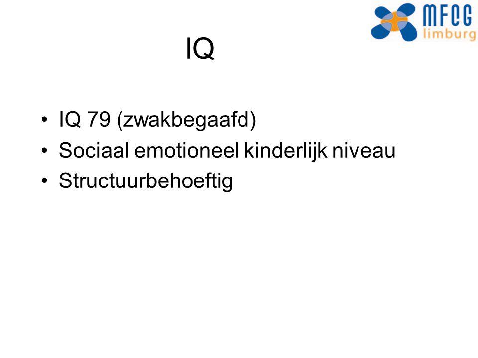 IQ IQ 79 (zwakbegaafd) Sociaal emotioneel kinderlijk niveau