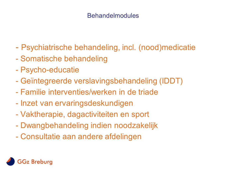 - Psychiatrische behandeling, incl. (nood)medicatie