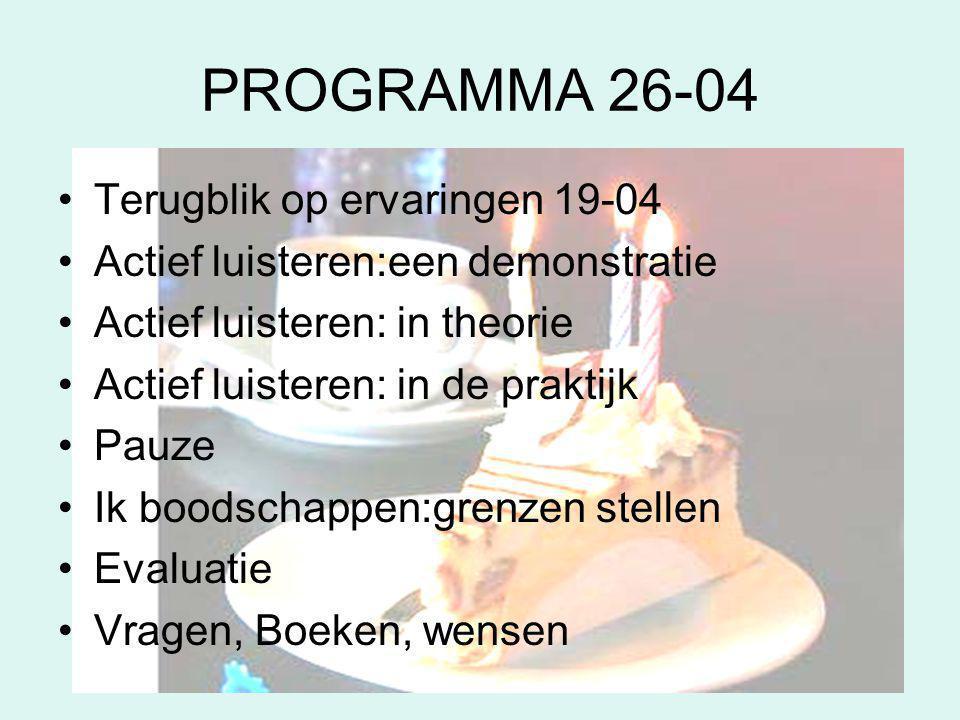 PROGRAMMA 26-04 Terugblik op ervaringen 19-04