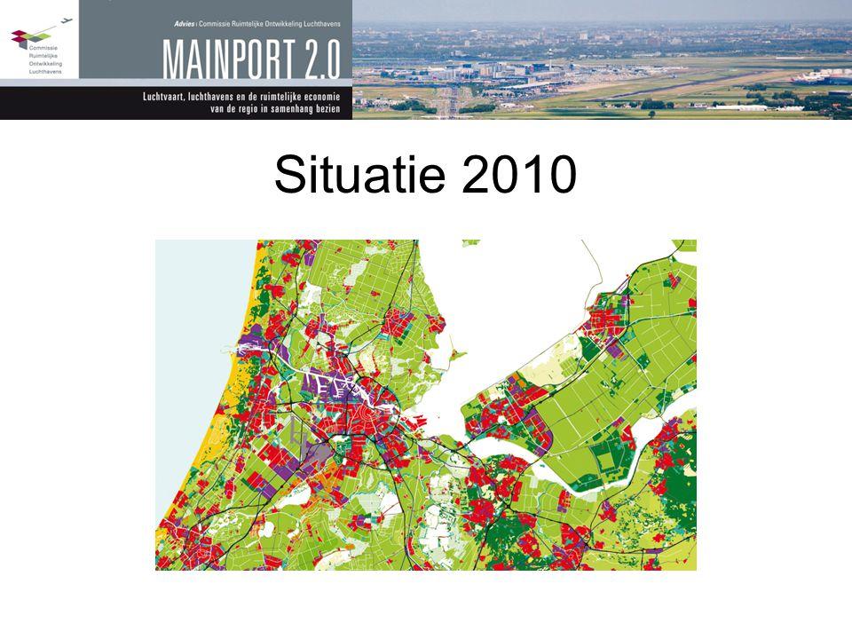 Situatie 2010 Amsterdam groeit door Schiphol ook (Polderbaan erbij)