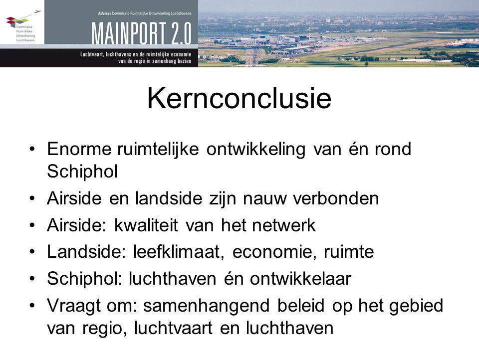 Kernconclusie Enorme ruimtelijke ontwikkeling van én rond Schiphol