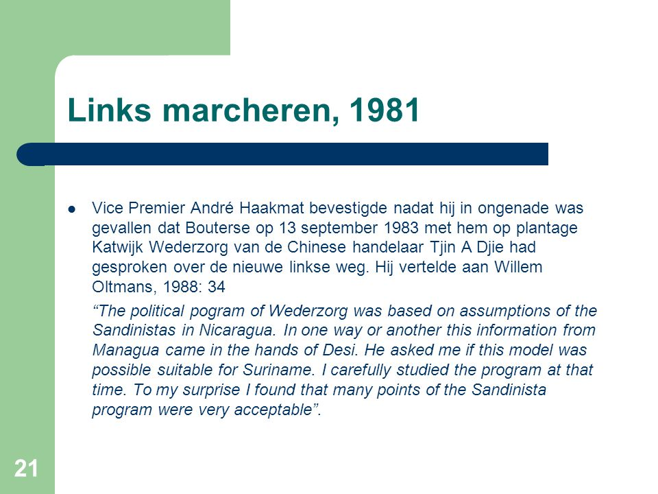Links marcheren, 1981