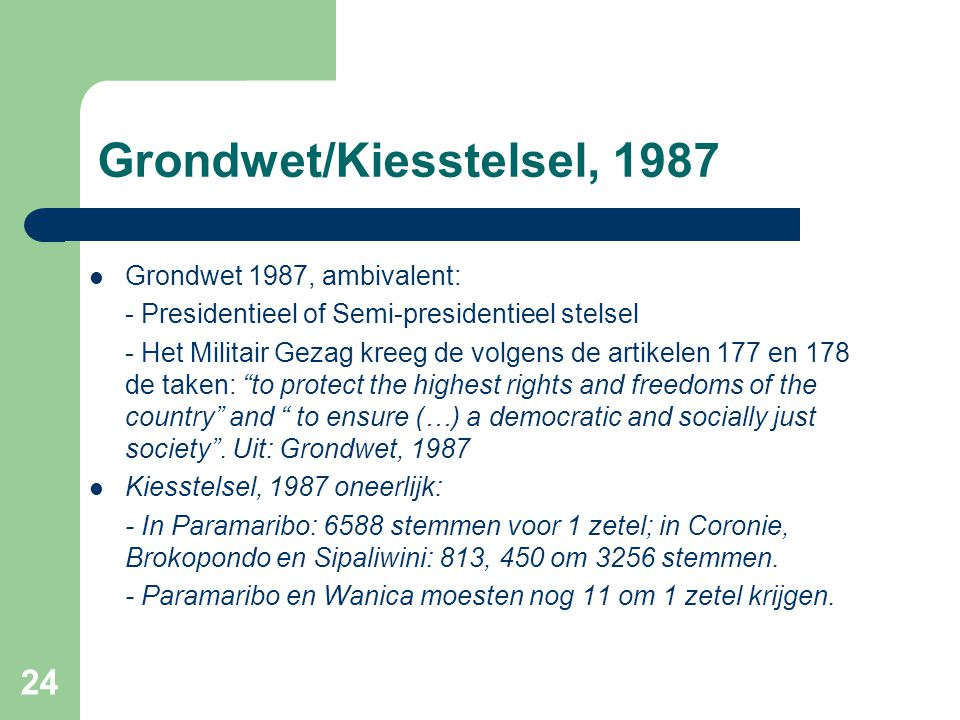Grondwet/Kiesstelsel, 1987