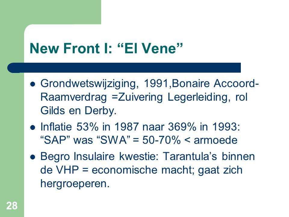 New Front I: El Vene Grondwetswijziging, 1991,Bonaire Accoord- Raamverdrag =Zuivering Legerleiding, rol Gilds en Derby.