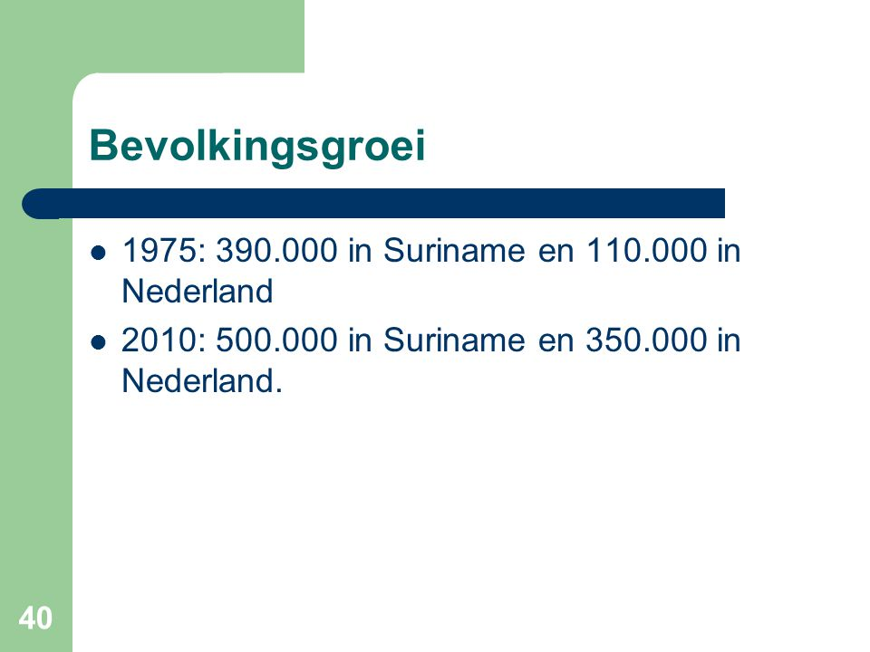 Bevolkingsgroei 1975: 390.000 in Suriname en 110.000 in Nederland