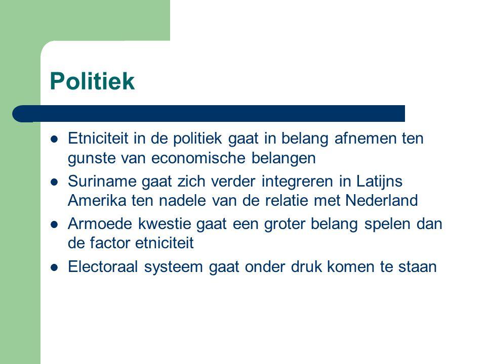 Politiek Etniciteit in de politiek gaat in belang afnemen ten gunste van economische belangen.