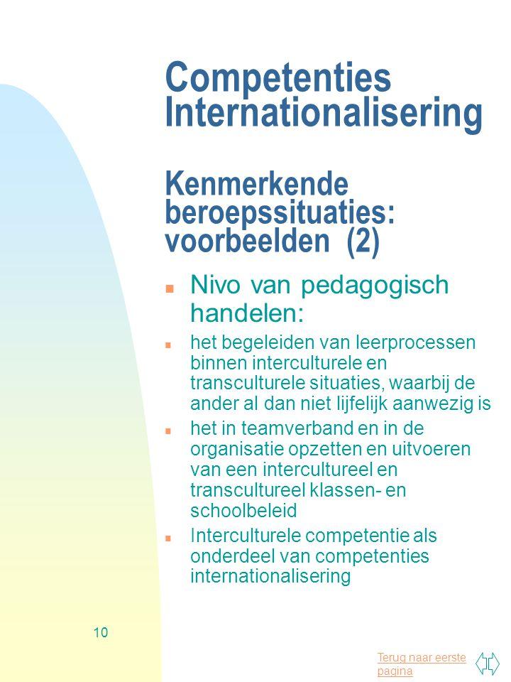 Competenties Internationalisering Kenmerkende beroepssituaties: voorbeelden (2)