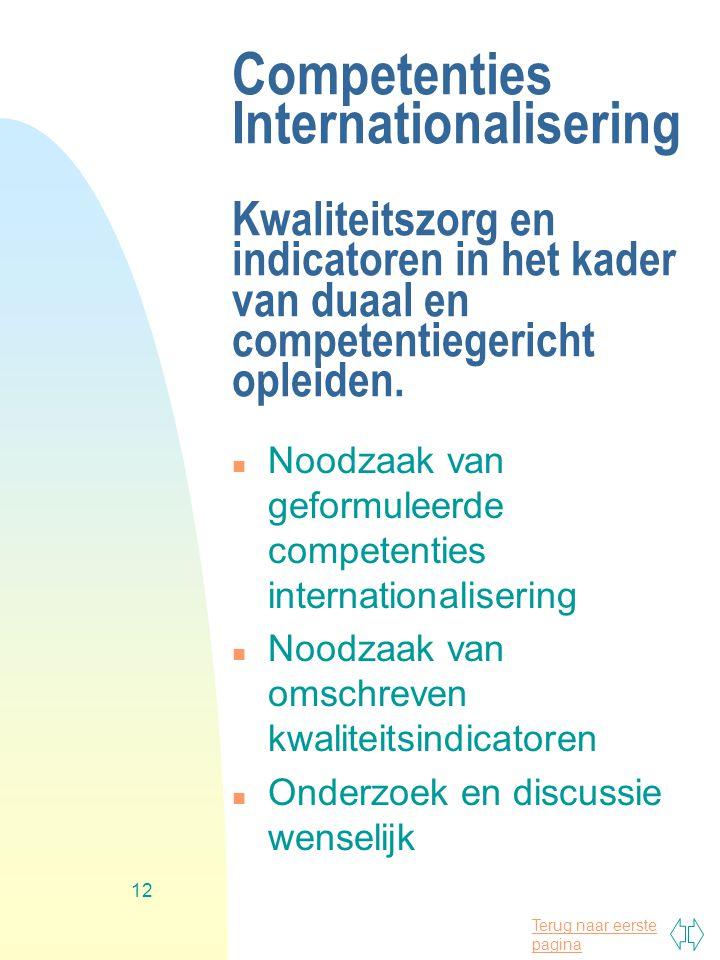 Competenties Internationalisering Kwaliteitszorg en indicatoren in het kader van duaal en competentiegericht opleiden.