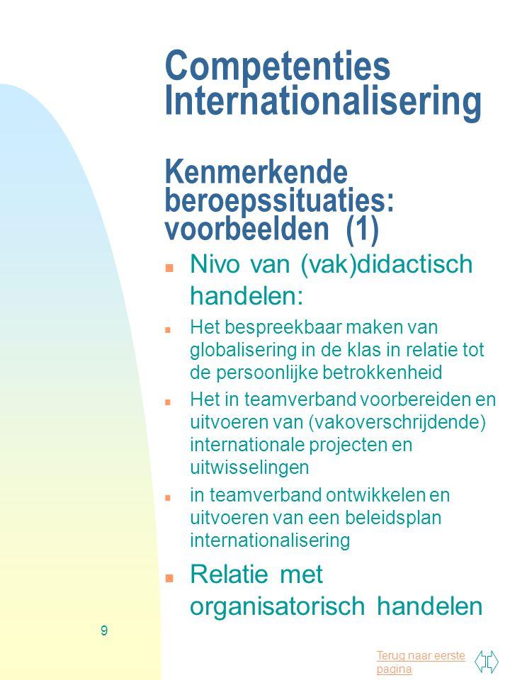 Competenties Internationalisering Kenmerkende beroepssituaties: voorbeelden (1)