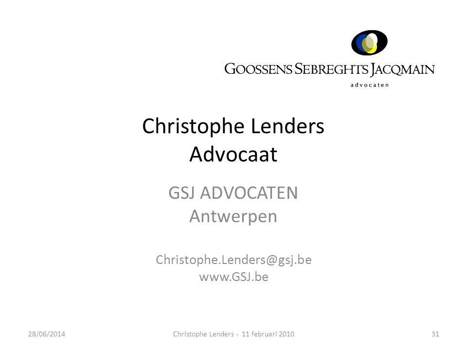 Christophe Lenders Advocaat