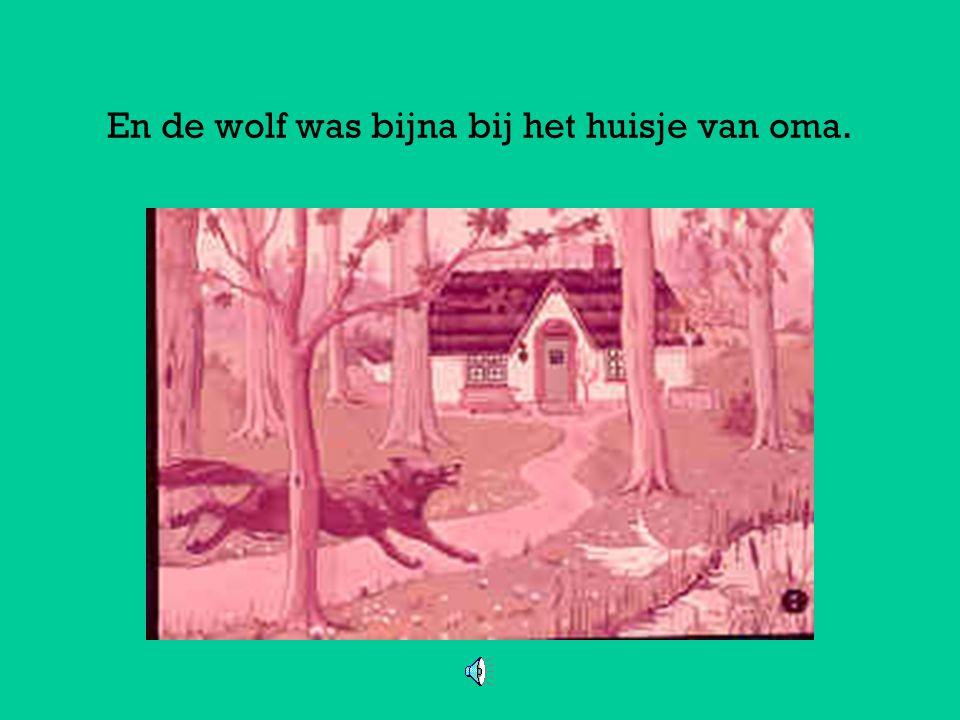 En de wolf was bijna bij het huisje van oma.
