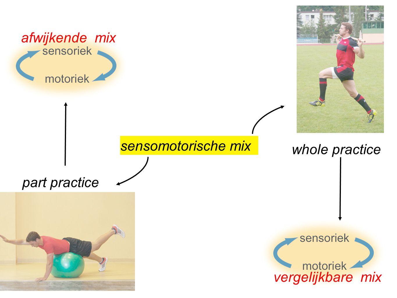 afwijkende mix sensomotorische mix whole practice part practice vergelijkbare mix