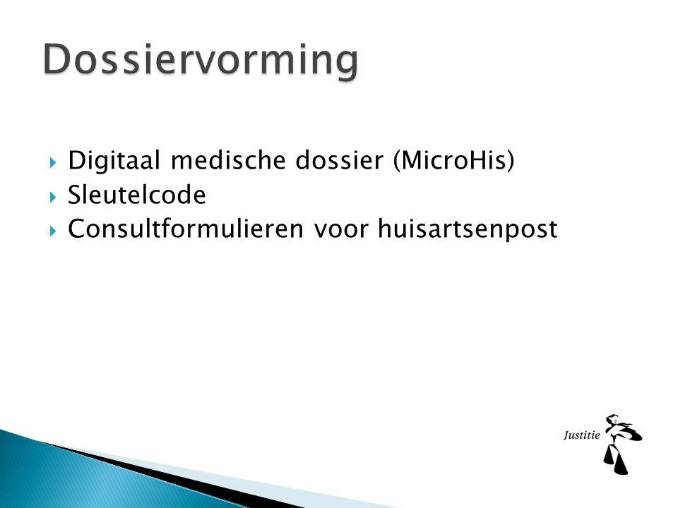 Dossiervorming Digitaal medische dossier (MicroHis) Sleutelcode