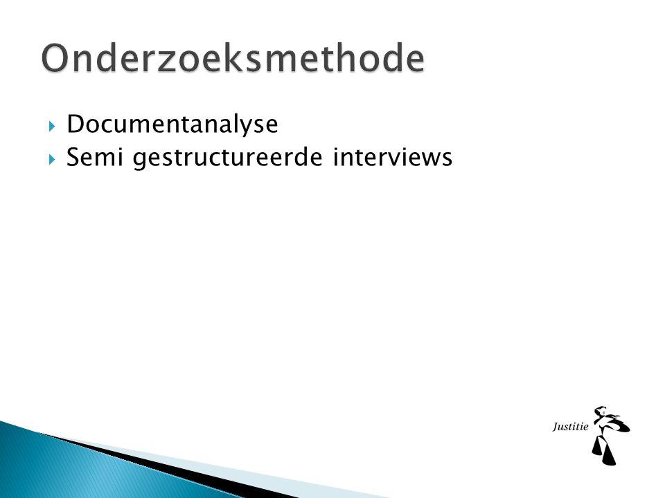 Onderzoeksmethode Documentanalyse Semi gestructureerde interviews