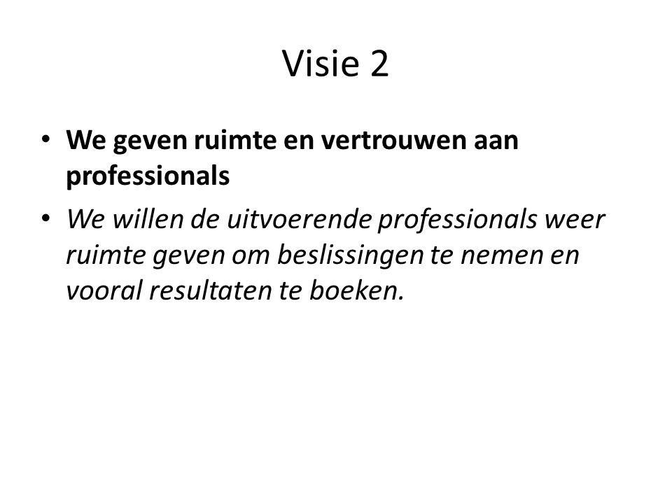 Visie 2 We geven ruimte en vertrouwen aan professionals