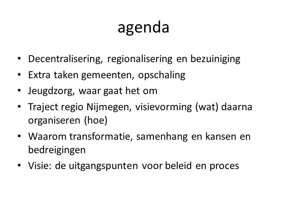 agenda Decentralisering, regionalisering en bezuiniging