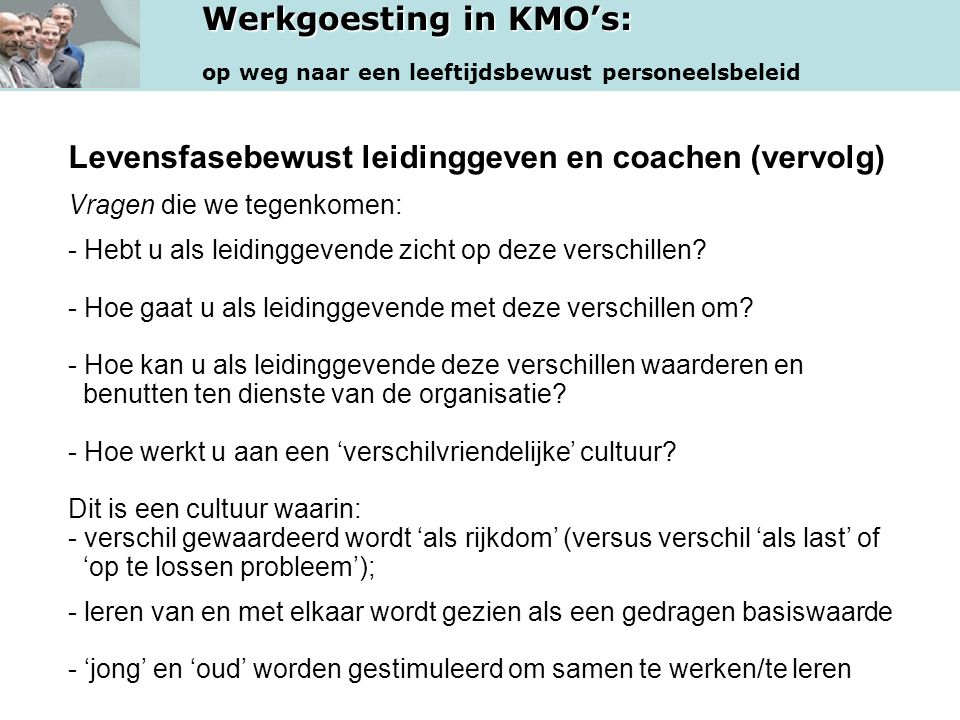Levensfasebewust leidinggeven en coachen (vervolg)