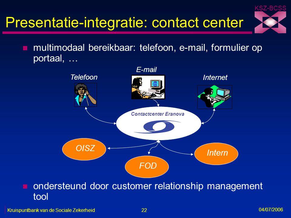 Presentatie-integratie: contact center
