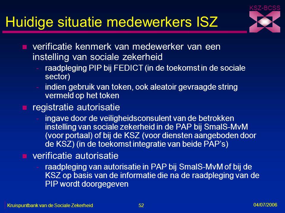 Huidige situatie medewerkers ISZ