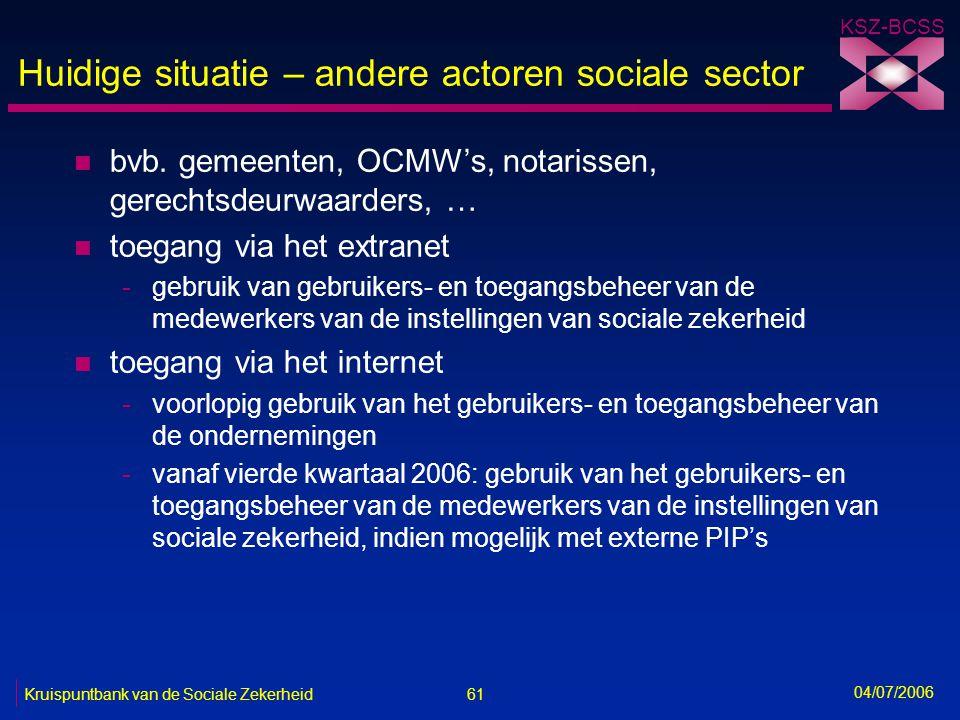 Huidige situatie – andere actoren sociale sector