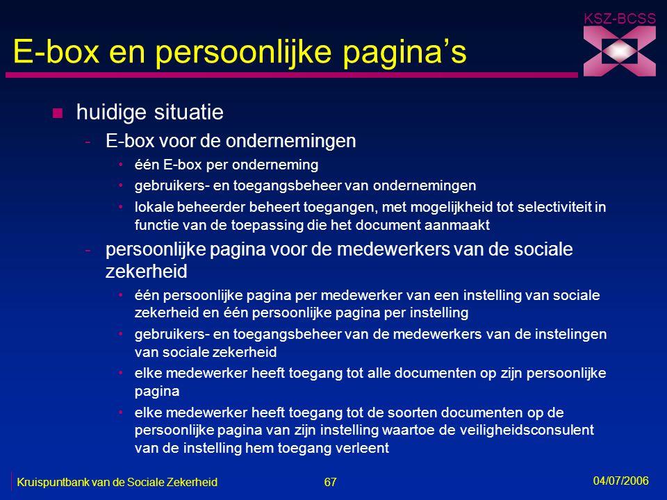 E-box en persoonlijke pagina's