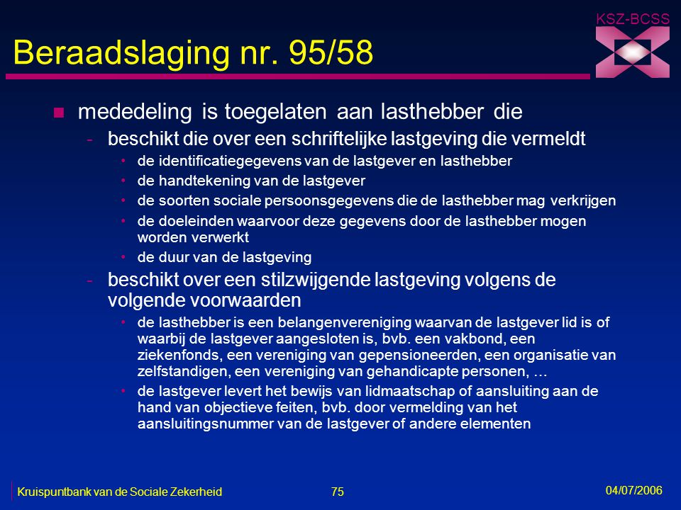 Beraadslaging nr. 95/58 mededeling is toegelaten aan lasthebber die
