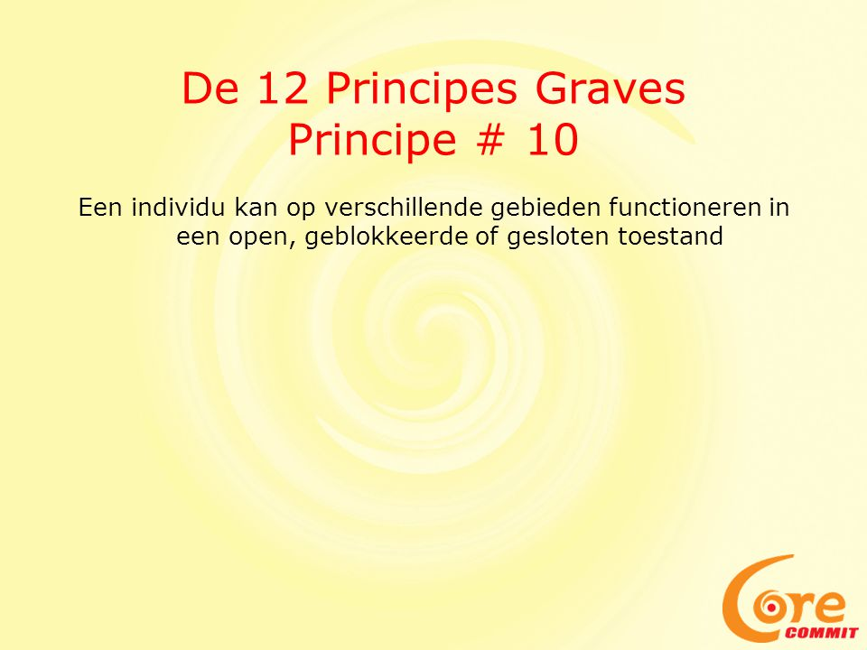 De 12 Principes Graves Principe # 10