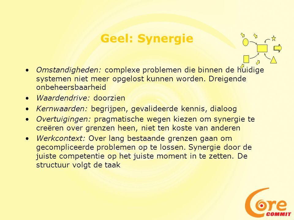 Geel: Synergie Omstandigheden: complexe problemen die binnen de huidige systemen niet meer opgelost kunnen worden. Dreigende onbeheersbaarheid.