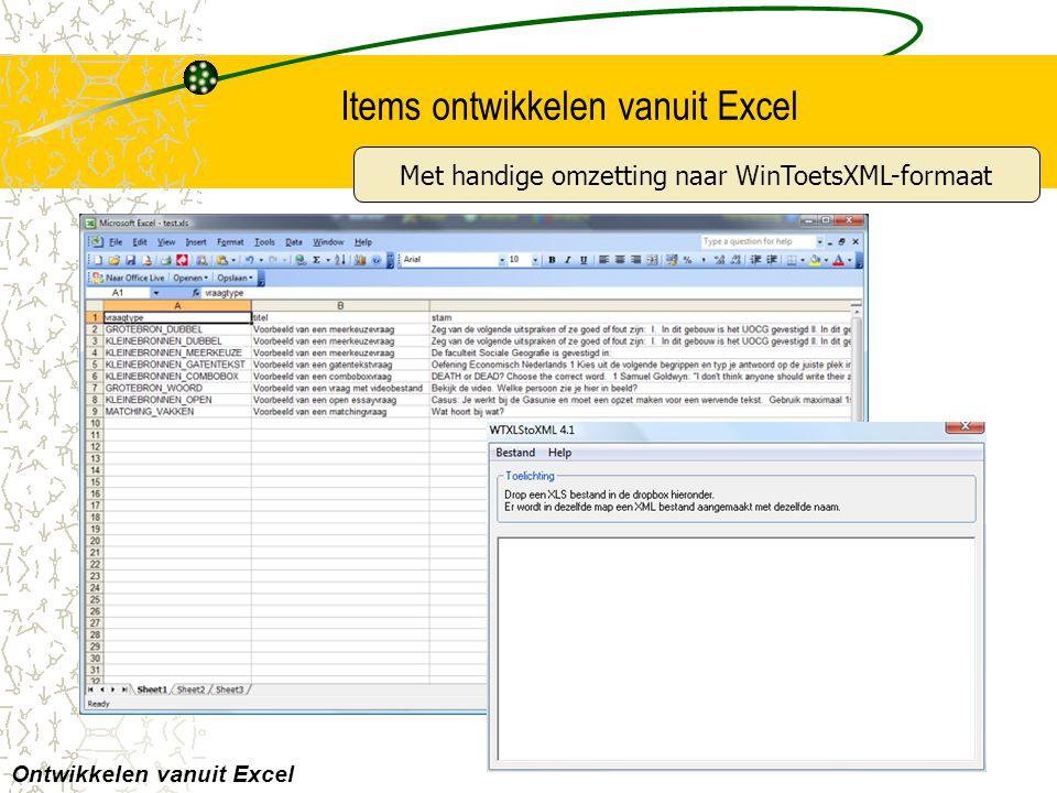 Items ontwikkelen vanuit Excel