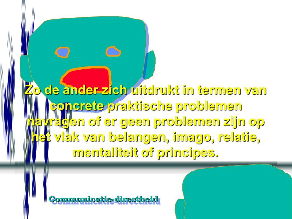 Zo de ander zich uitdrukt in termen van concrete praktische problemen navragen of er geen problemen zijn op het vlak van belangen, imago, relatie, mentaliteit of principes.