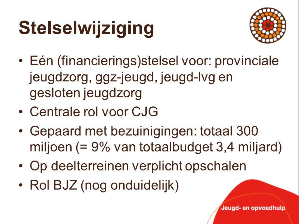 Stelselwijziging Eén (financierings)stelsel voor: provinciale jeugdzorg, ggz-jeugd, jeugd-lvg en gesloten jeugdzorg.