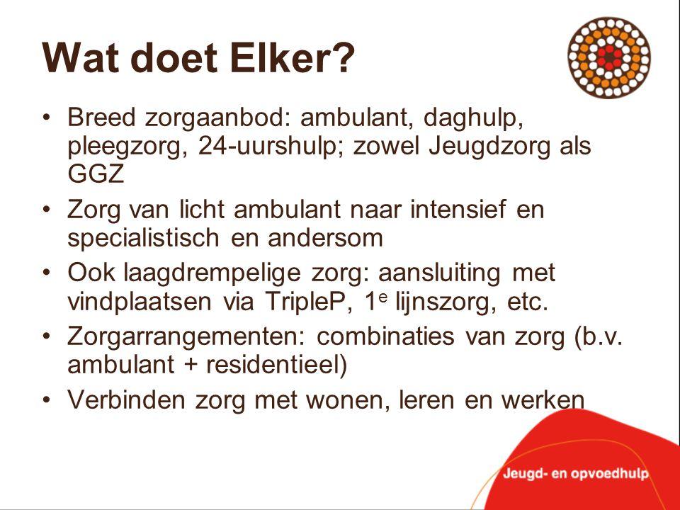 Wat doet Elker Breed zorgaanbod: ambulant, daghulp, pleegzorg, 24-uurshulp; zowel Jeugdzorg als GGZ.