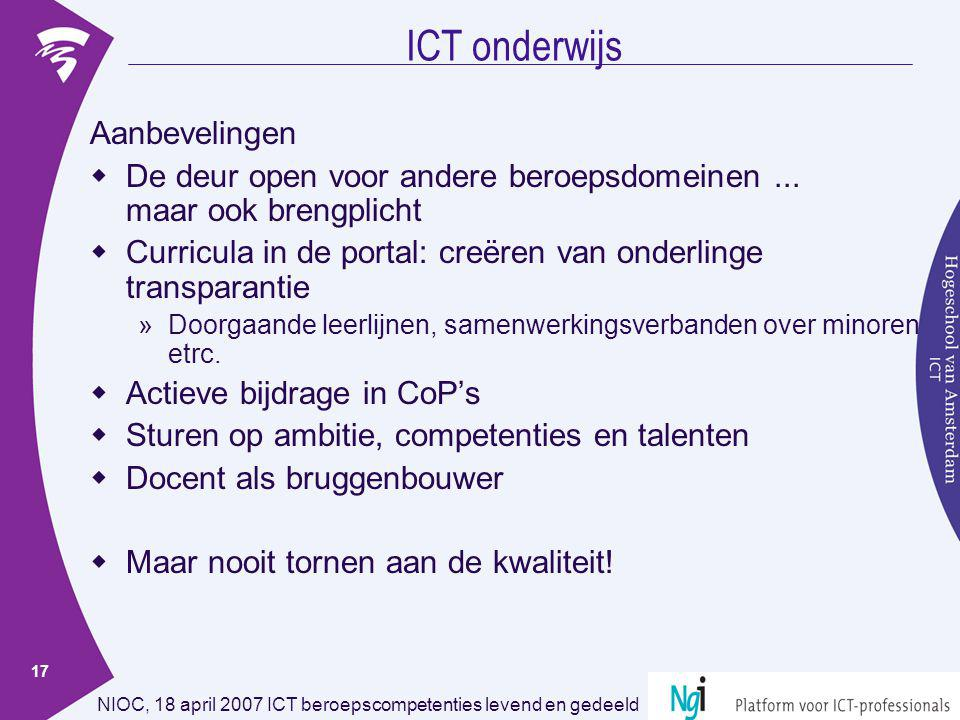 ICT onderwijs Aanbevelingen