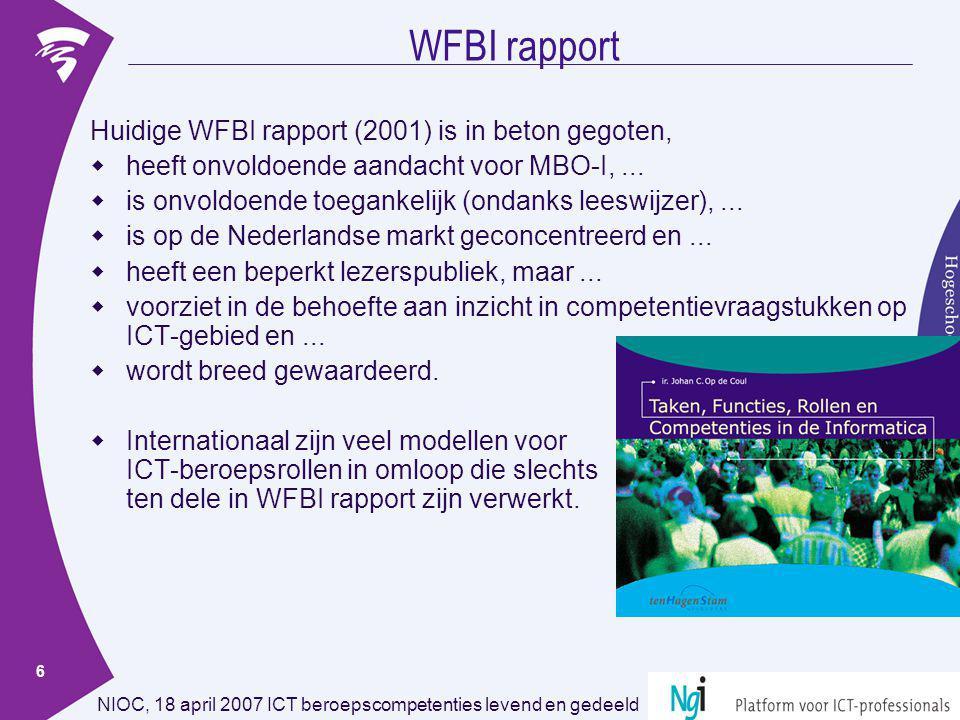 WFBI rapport Huidige WFBI rapport (2001) is in beton gegoten,